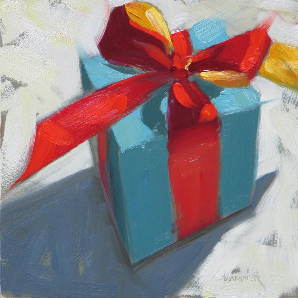 """""""The Blue Package 6 x 6  oil"""" original fine art by Claudia Hammer"""