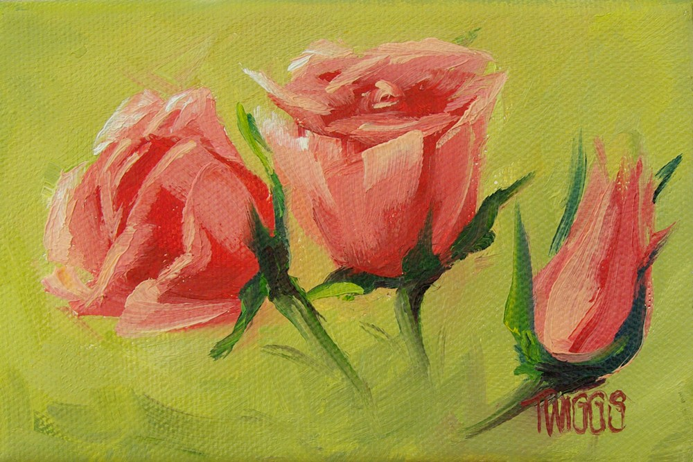 """Three Minis"" original fine art by Lori Twiggs"