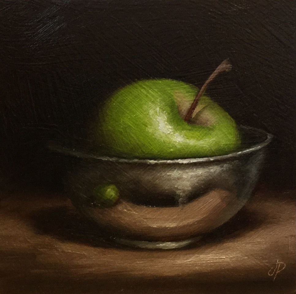 """Apple in Silver"" original fine art by Jane Palmer"