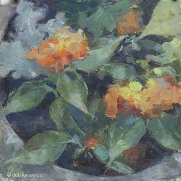 """Lantana Planter  - Original oil floral painting by Deb Kirkeeide"" original fine art by Deb Kirkeeide"