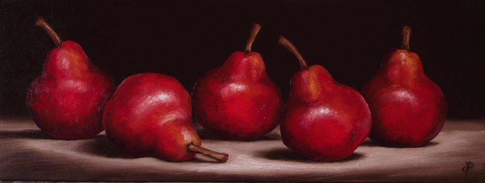 """Five Red Williams Pears"" original fine art by Jane Palmer"