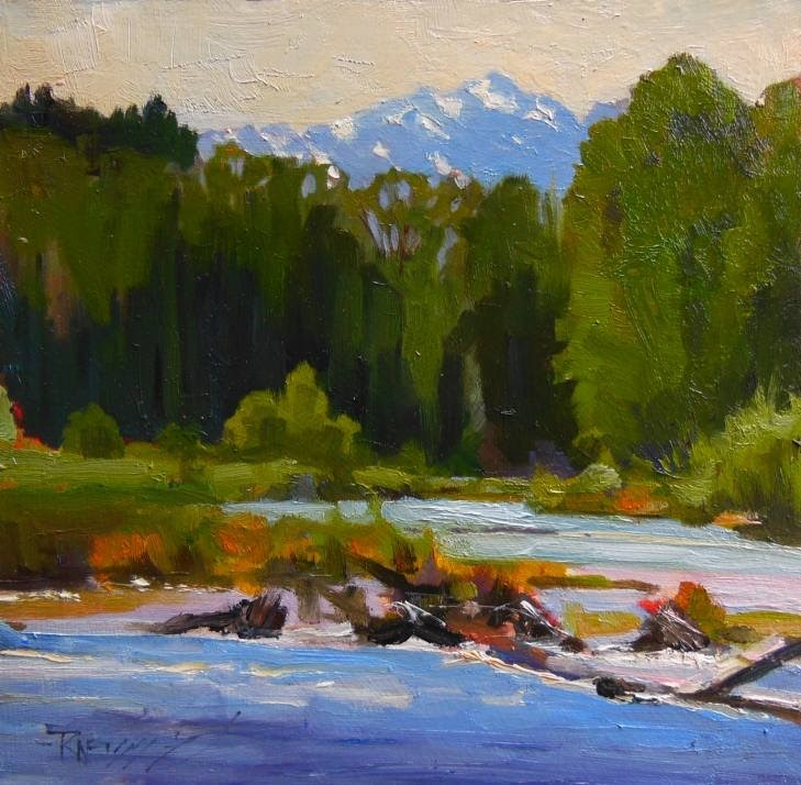 """""""Dosewallips River and The Brothers landscape , plein air painting by Robin Weiss"""" original fine art by Robin Weiss"""
