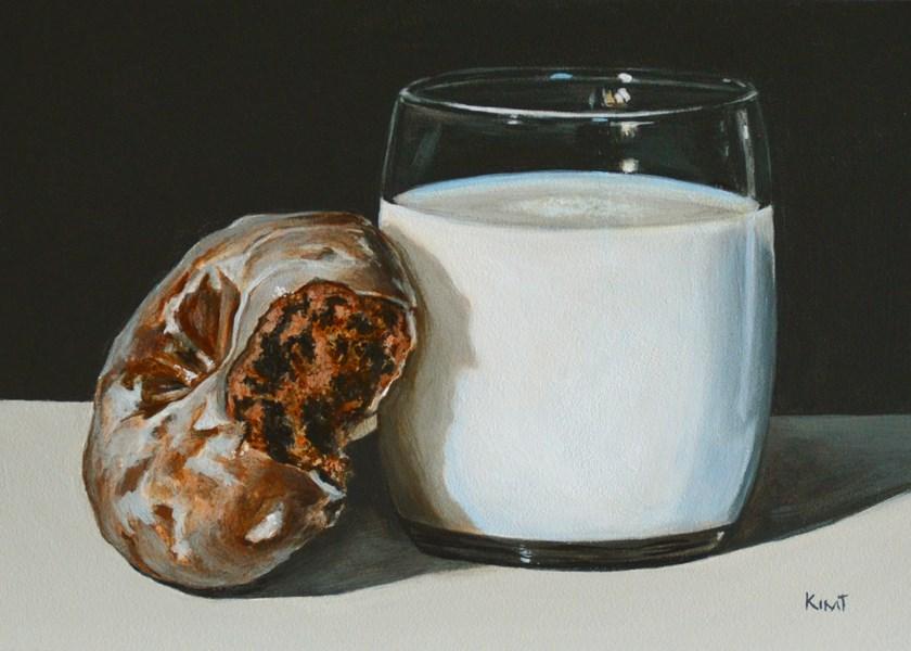"""""""Glazed Chocolate Donut and Milk"""" original fine art by Kim Testone"""