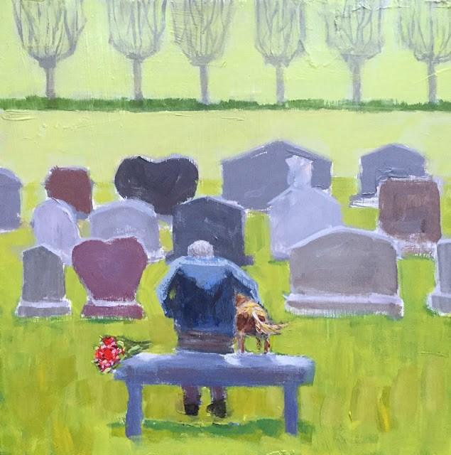 """Man's Best Friend, 12x12 inch Acrylic Painting by Kelley MacDonald"" original fine art by Kelley MacDonald"
