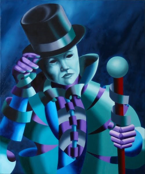 """""""Mark Webster - Mask of the Magician - Abstract Geometric Futurist Figurative Oil Painting"""" original fine art by Mark Webster"""