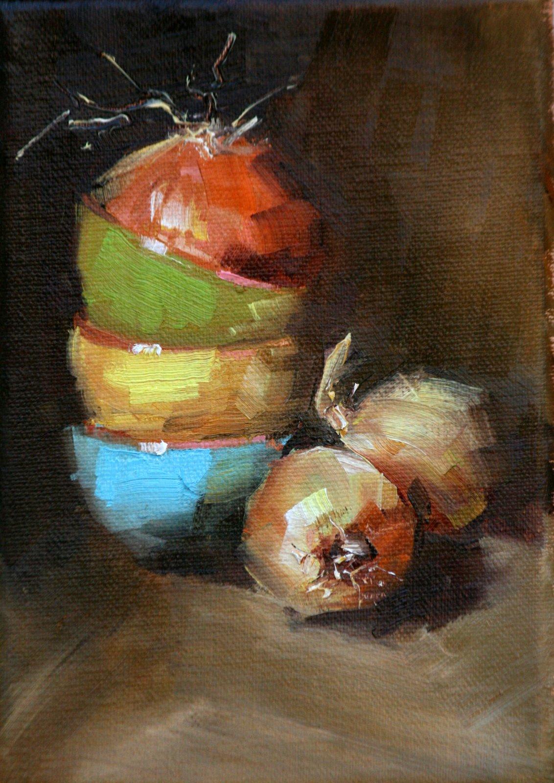 """blooming onion"" original fine art by Carol Carmichael"