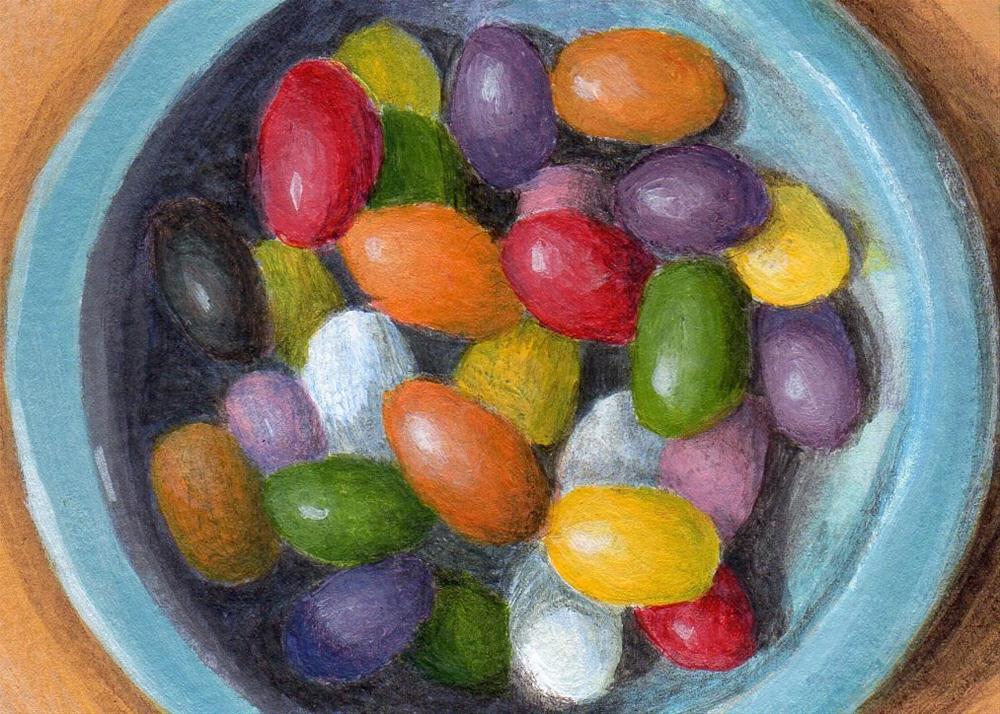"""Jellybean Bowl"" original fine art by Debbie Shirley"