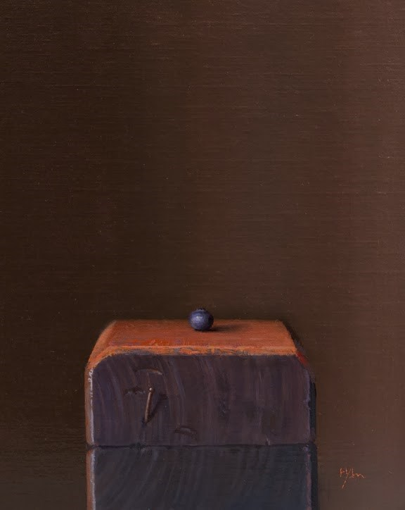 """Blueberry on a Wood Block   (+ A Zen Quote I Like)"" original fine art by Abbey Ryan"