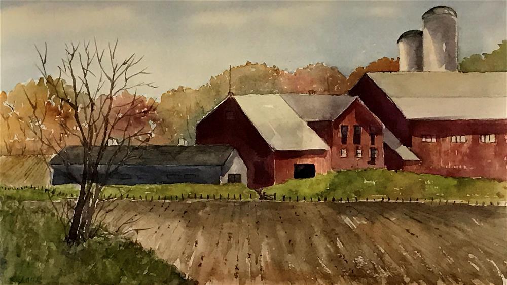 """dairy farm in Starlight, P.A."" original fine art by Betty Argiros"