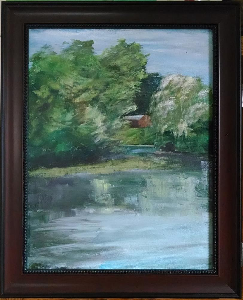 """""""Windy Day - Saxonville Pond"""" original fine art by Dave Gehman"""