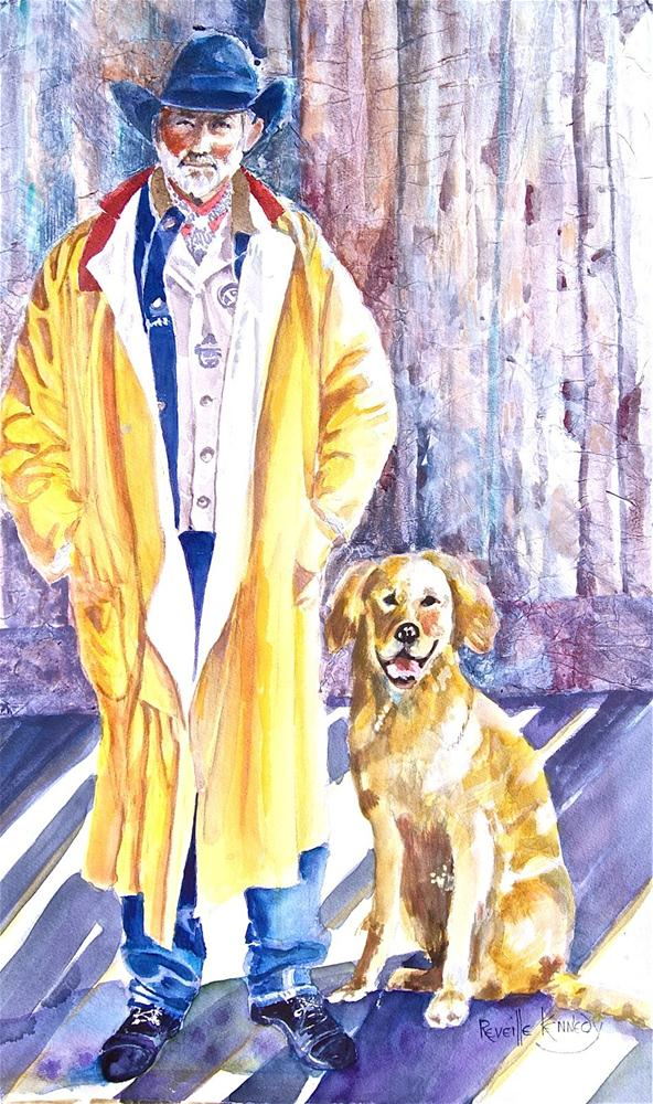 """ Yellow Slicker, Yellow Lab"" original fine art by Reveille Kennedy"