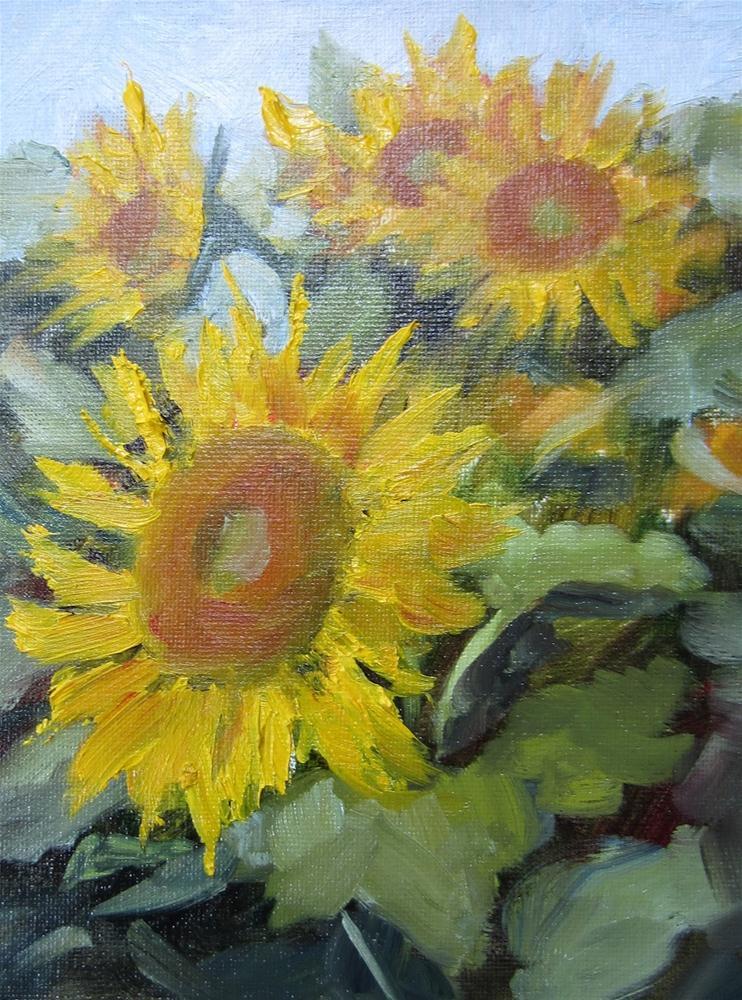"""""""Sunflowers in the Field"""" original fine art by Pat Fiorello"""