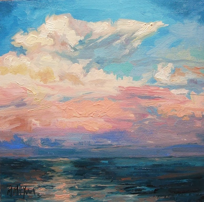 """Fast Sky - billowing clouds in a pink sky"" original fine art by Mary Maxam"