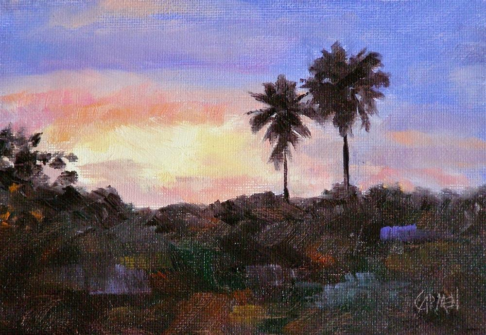 """Two Palms, 5x7 Original Oil Painting on Canvas Panel"" original fine art by Carmen Beecher"
