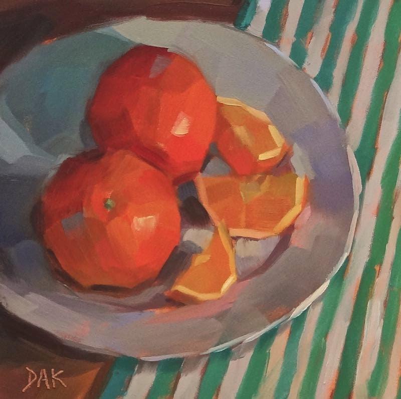 """Oranges One Cut"" original fine art by Deborah Ann Kirkeeide"