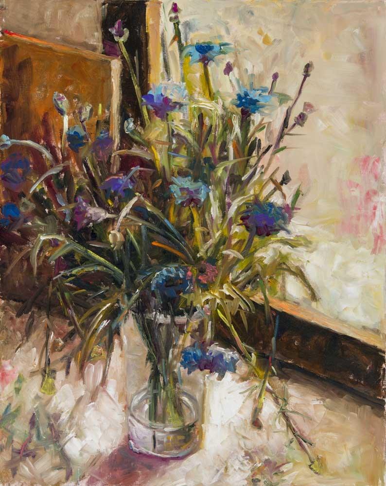 """""""Cornflowers in a Glass Vase"""" original fine art by pepa sand"""