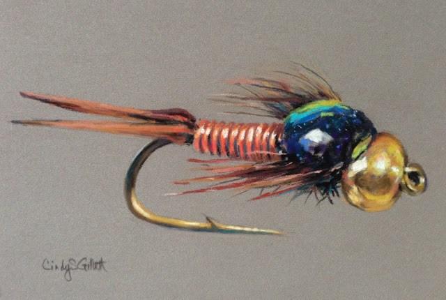 """Fly 27 -  Copper John - Dive Bomber"" original fine art by Cindy Gillett"