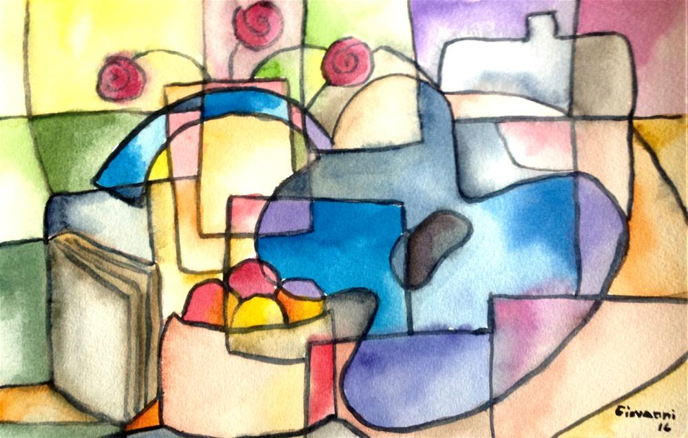 """""""Guitar, book, fruit, and flowers"""" original fine art by Giovanni Antunez"""