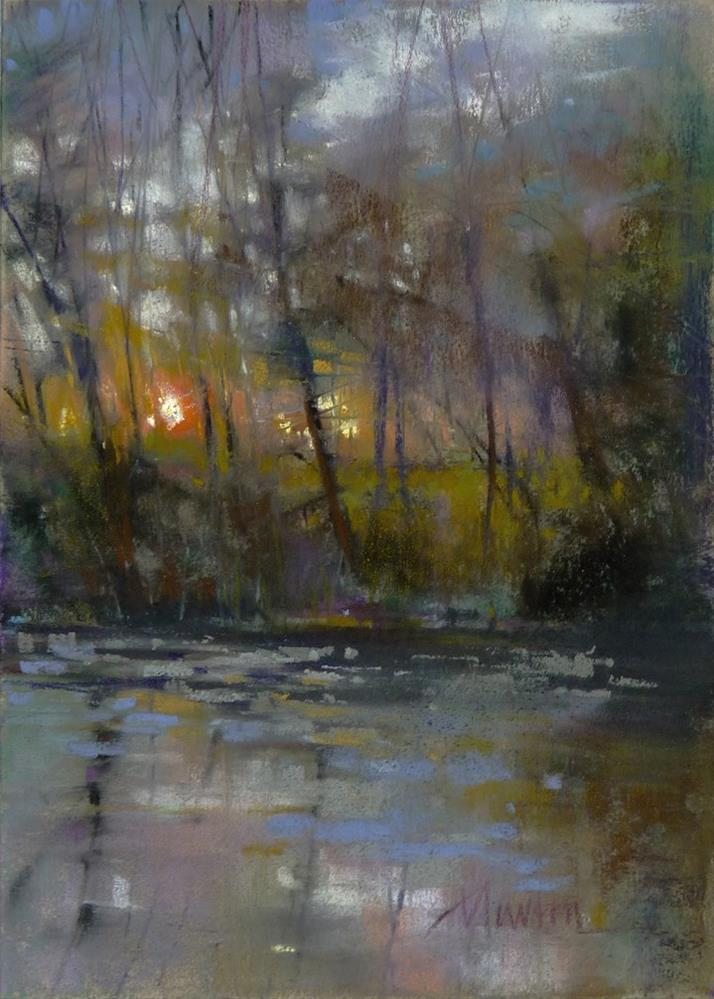 """Millpond Sunset"" original fine art by Barbara Benedetti Newton"