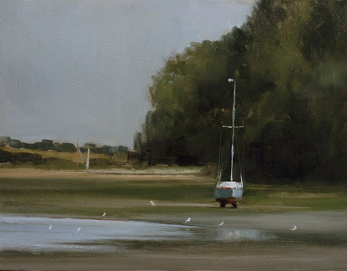 """Low Tide at Pin Mill"" original fine art by Neil Carroll"