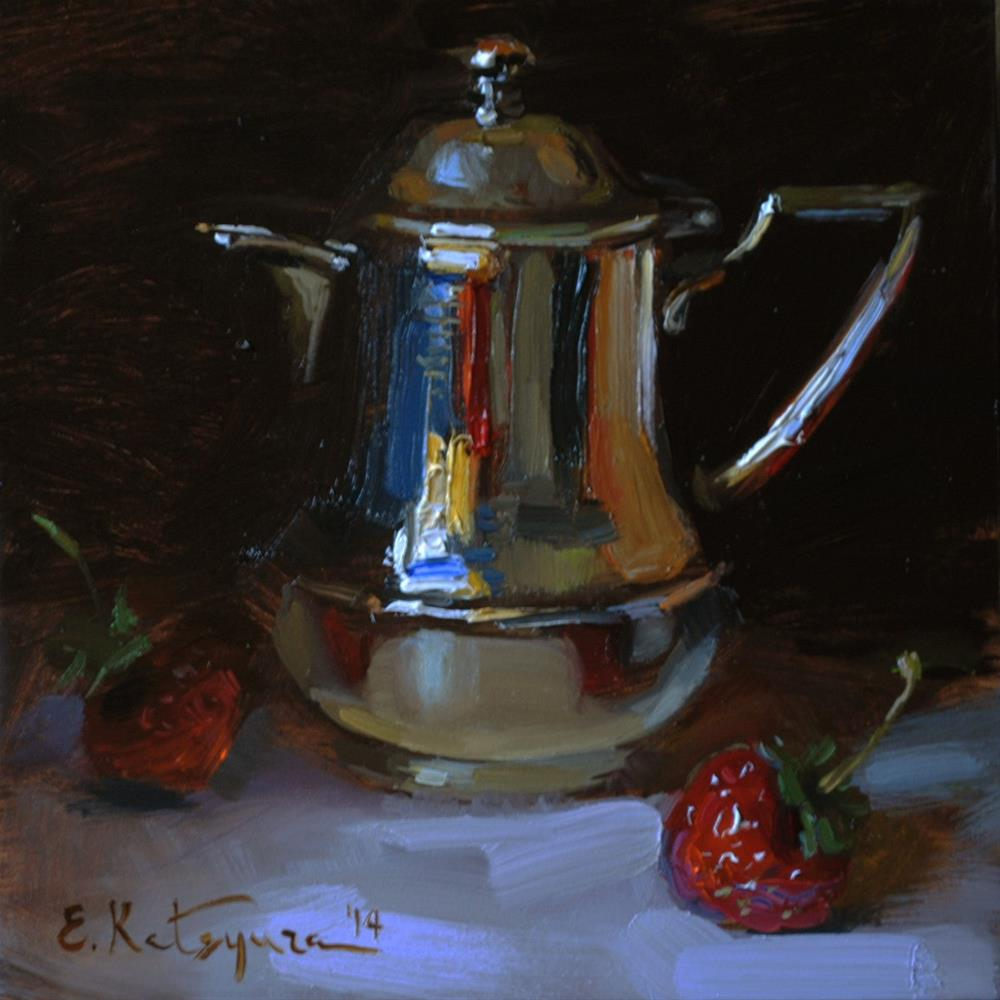 """Silver Creamer and Strawberries"" original fine art by Elena Katsyura"