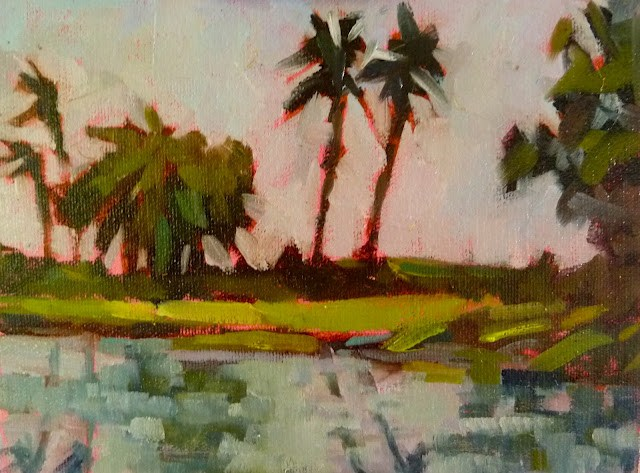 """""""Lowdermilk Park, Naples, FL 6x8 oil on Pintura panel This is one of my favorite spots along the beach in Naples. I toned the panel with Q. Rose to work with the greens."""" original fine art by Mary Sheehan Winn"""
