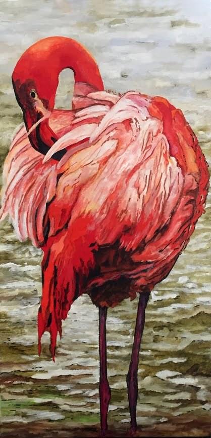 """""""Flamingo"""" original fine art by Nan Johnson"""