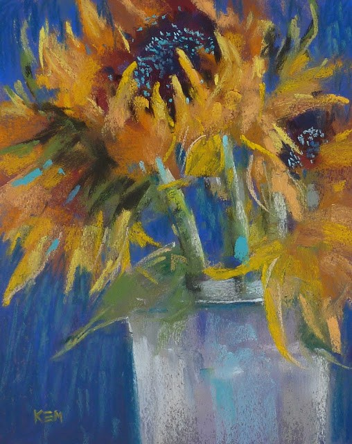 """Tips for Painting on Canson ...Sunflowers on Blue"" original fine art by Karen Margulis"