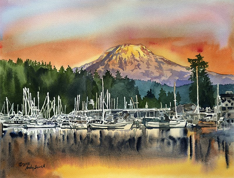"""""""Gig Harbor Glow"""" original fine art by Andy Sewell"""