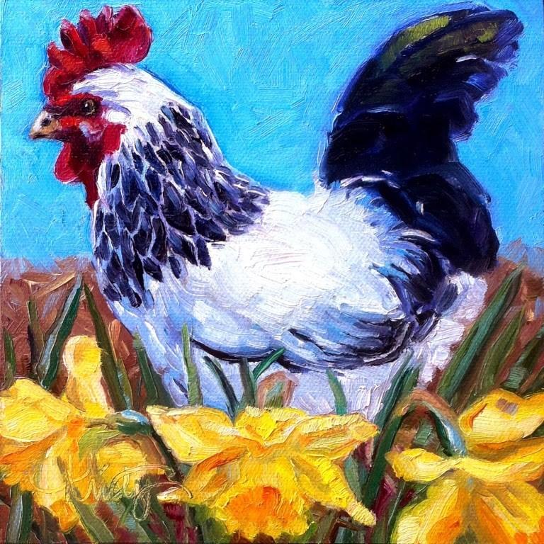 """SPRING CHICKEN"" original fine art by Kristy Tracy"