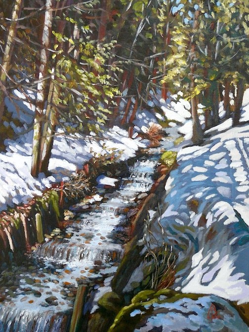 """Alpine stream"" original fine art by Alix Baker PCAFAS AUA"