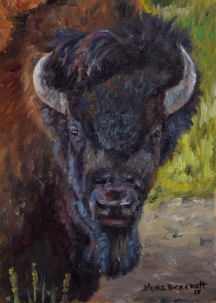 """""""Elvis the Bison"""" original fine art by Lori Brackett"""