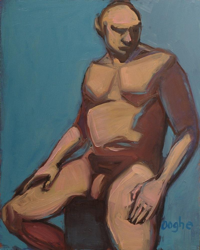 """Seated Man on Blue"" original fine art by Angela Ooghe"