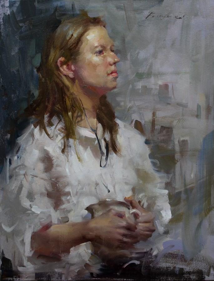 """""""White shirt"""" original fine art by Fongwei Liu"""