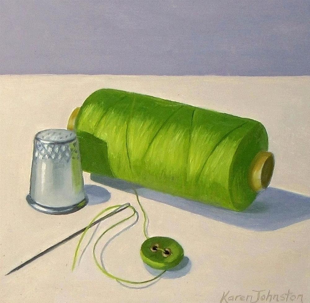 """Button Up"" original fine art by Karen Johnston"