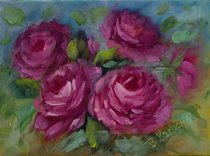 """Party Pink Roses"" original fine art by Bobbie Koelsch"
