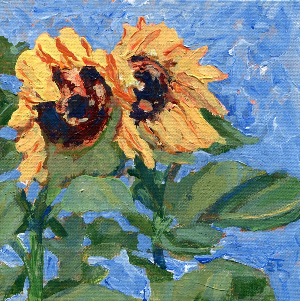 """Two Sunflowers"" original fine art by Stanley Epperson"