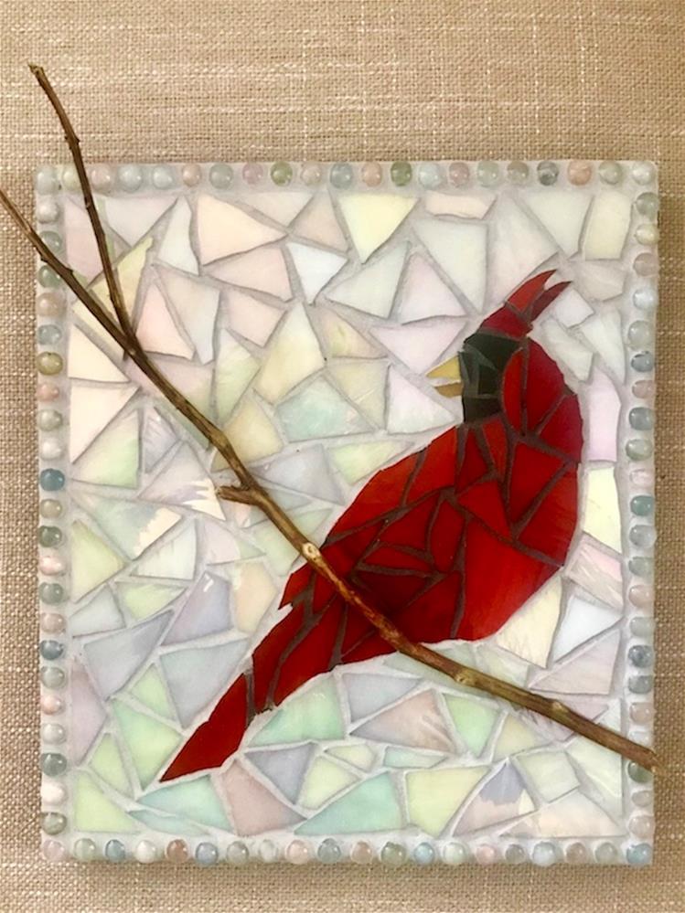 """""""Cardinal Mosaic"""" original fine art by Joetta Currie"""
