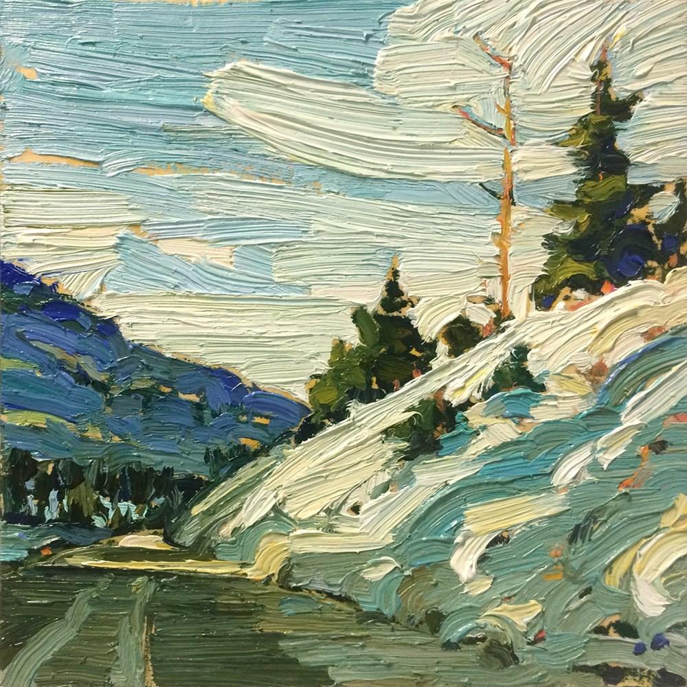 """""""Snowy Hill Side:  6x6  oil on panel"""" original fine art by Ken Faulks"""