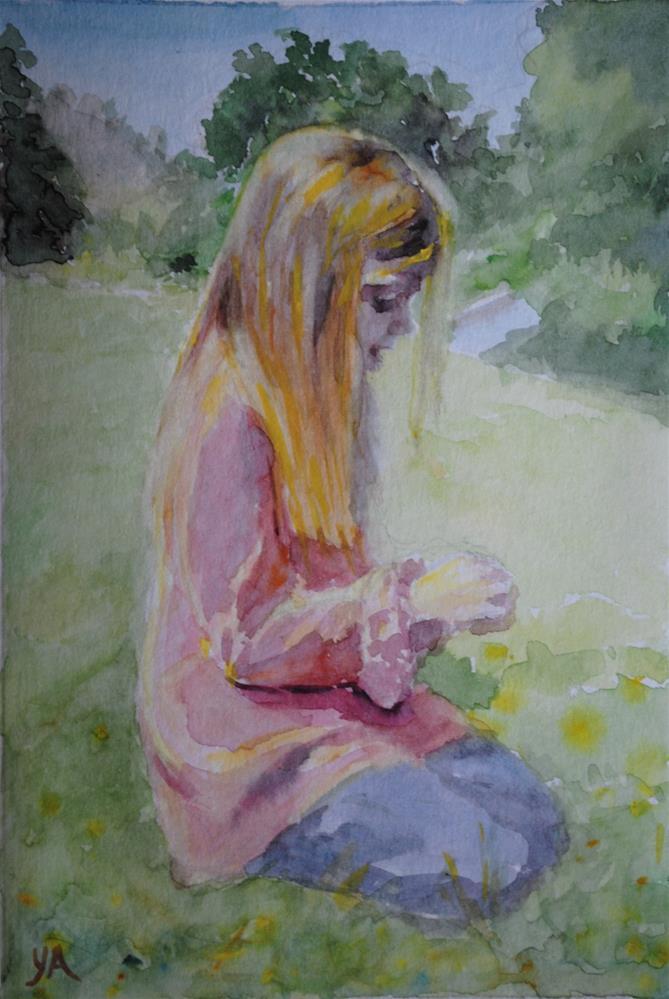 """Girl in Pink"" original fine art by Elena Katsyura"