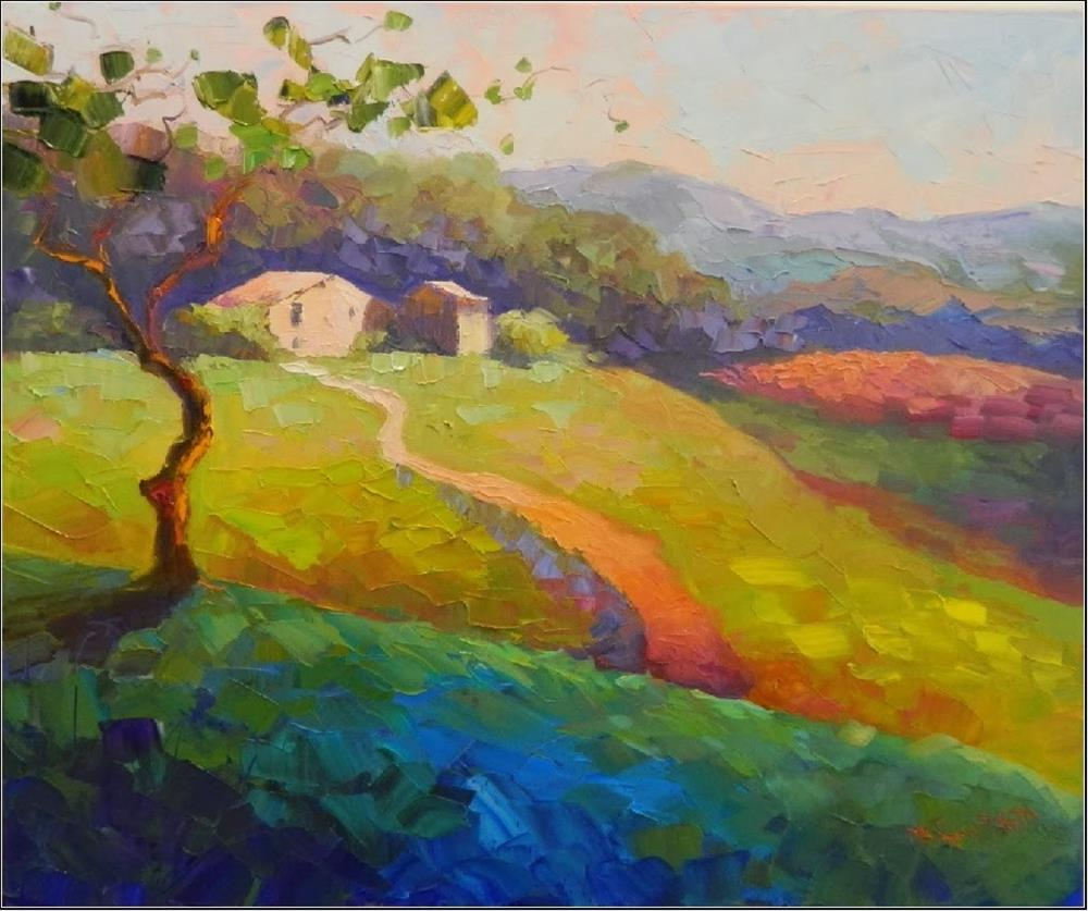 """""""Springtime in Umbria, 20x24, oil on wrapped canvas, Italian landscapes, Umbria, Tuscany, impasto,"""" original fine art by Maryanne Jacobsen"""