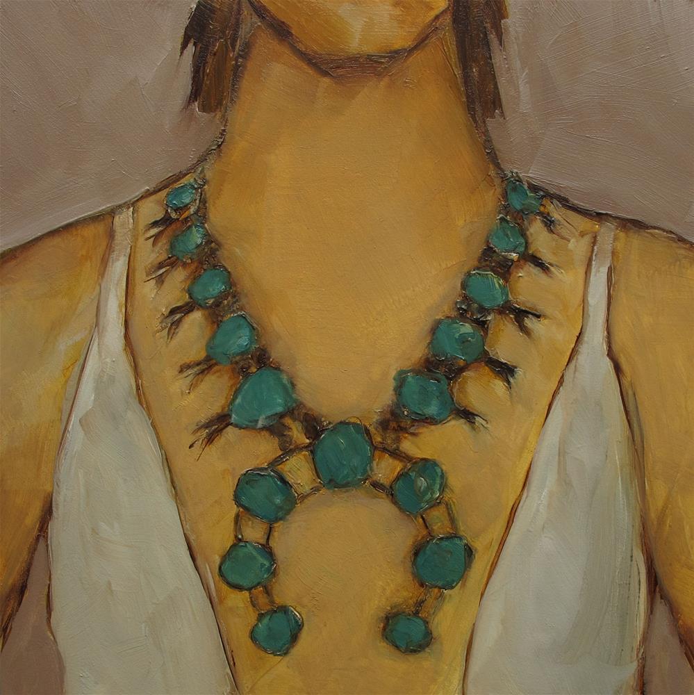 """""""SQUASHBLOSSOM Necklace Figure Abstract Portrait Original Art 6x6 Painting OIL"""" original fine art by Colette Davis"""