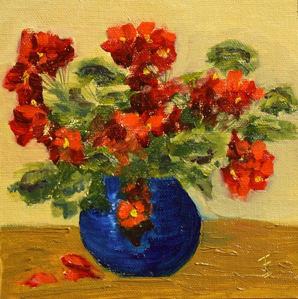"""Geranium Vase"" original fine art by Jane Frederick"