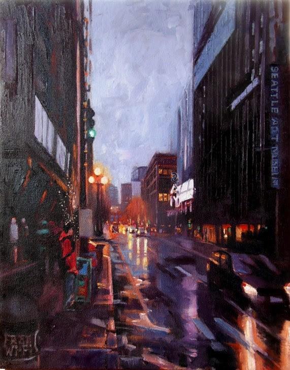 """First Thursday  Seattle cityscape by Robin Weiss"" original fine art by Robin Weiss"