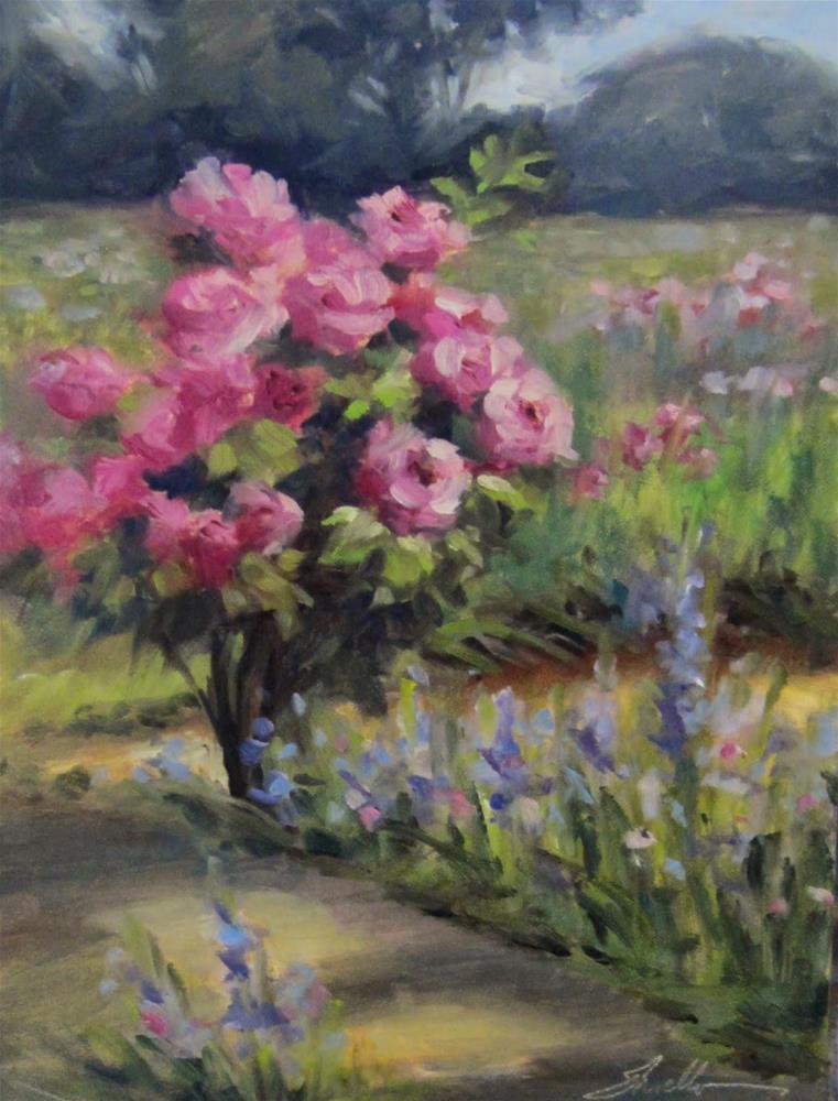 """Roses at Loganberry Farm"" original fine art by Pat Fiorello"
