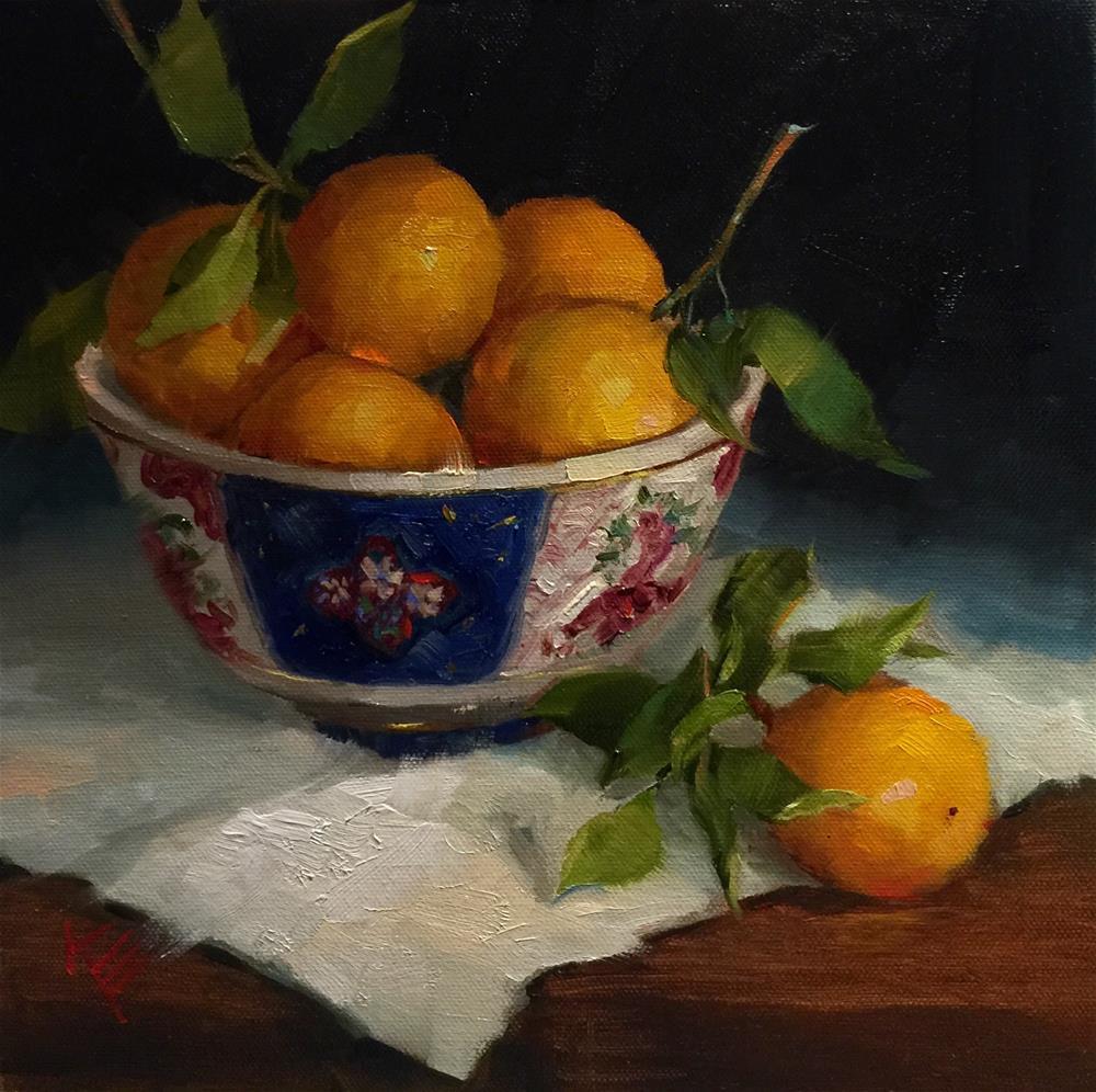 """""""Oranges in Antique bowl"""" original fine art by Krista Eaton"""