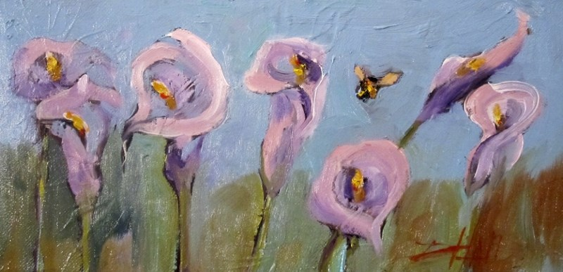 """Lilies with Bee"" original fine art by Delilah Smith"