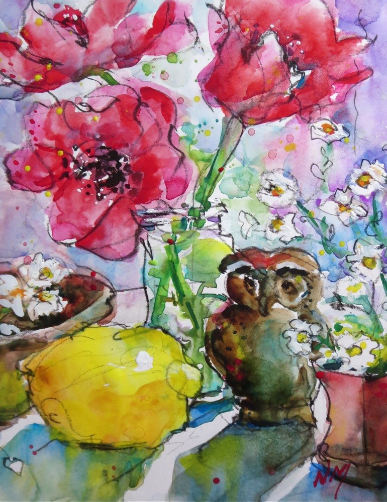 """""""we're here for the party"""" original fine art by Nora MacPhail"""
