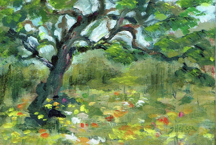 """Live Oak with Wildflowers"" original fine art by Theresa Taylor Bayer"