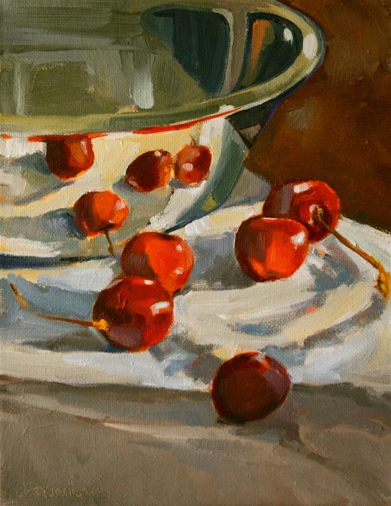 """Reflecting Cherries"" original fine art by Jane Robertson"